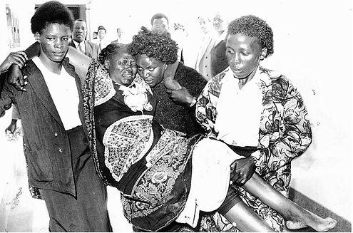 Wangari Maathai injured from the attack
