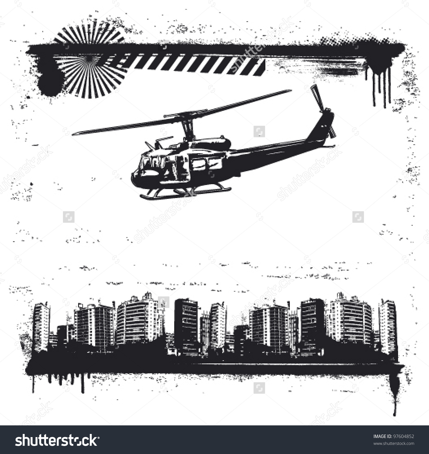 stock-vector-grunge-city-frame-with-helicopter-97604852