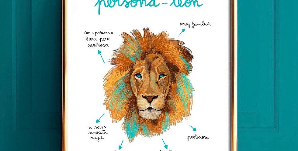 Lámina persona-león