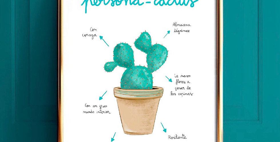 Lámina persona-cactus