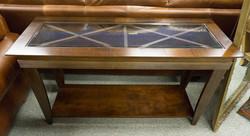 Glass Top Wood Sofa Table