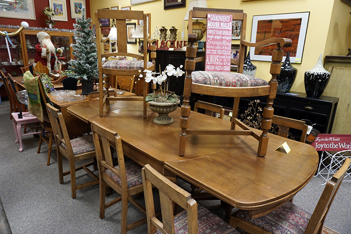 Antique Dining Table with 10 Chairs