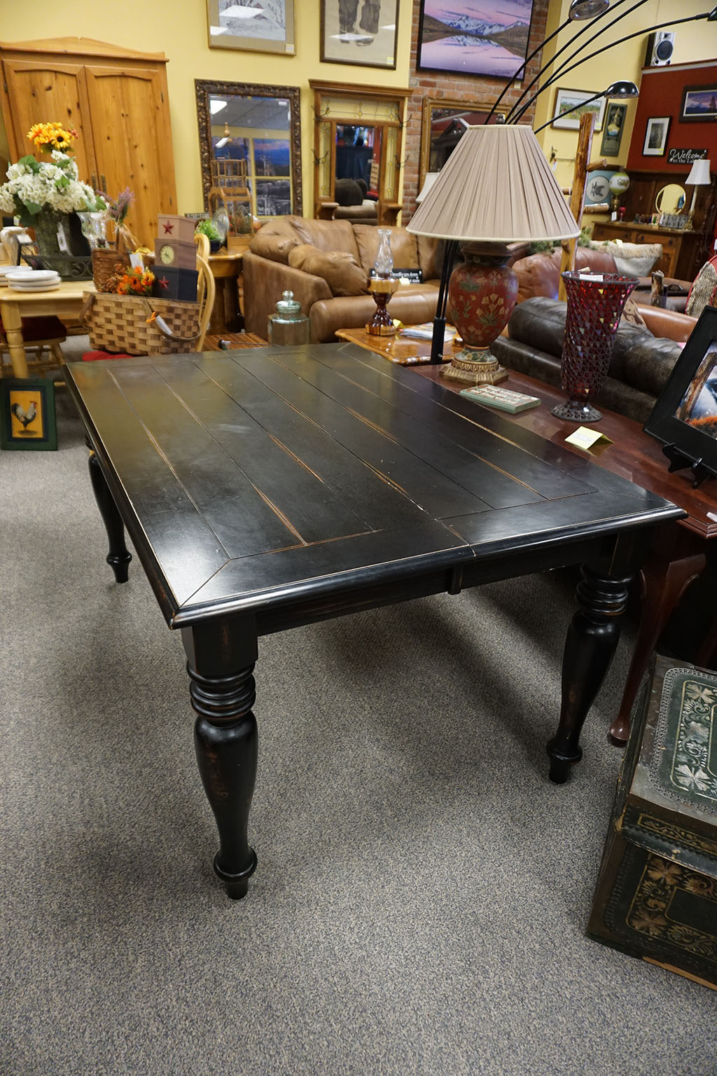 Shabby Black Dining Table with Leaf