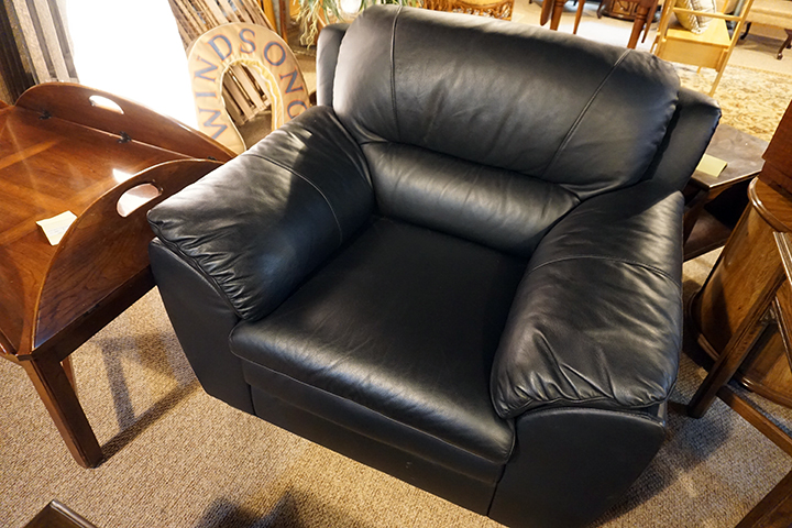 Black Leather Oversized Chair