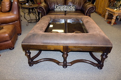 Square Coffee Table Two Glass Trays