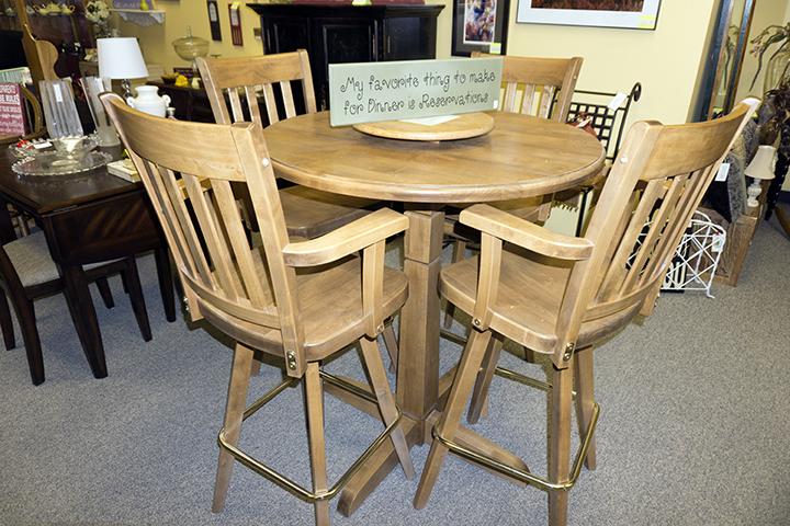 Alder Pub Table 4 Swivel Chairs