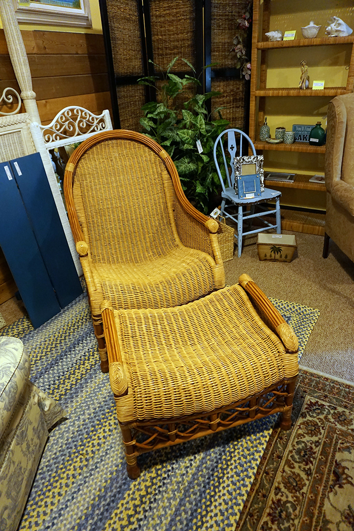 Rattan Chair & Ottoman