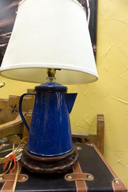 Blue Coleman Coffee Pot Lamp