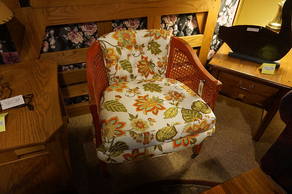 Shabby Chic Upholstered cane Chair