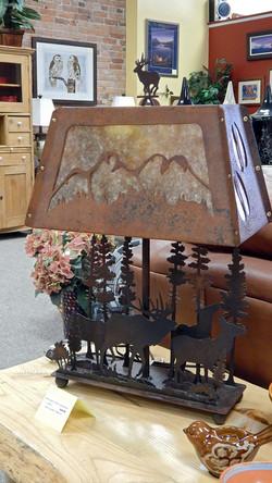 Metal Elk Table Lamp Mica Shade