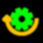Imagem com verde RGB e amarelo queimado de uma engrenagem e uma seta arredondada estilo flat design