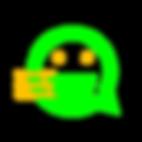 Imagem com verde RGB e amarelo queimado de um smile estilizado em forma de balão de texto estilo flat design