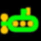 Imagem com verde RGB e amarelo queimado de um submarino estilo flat design