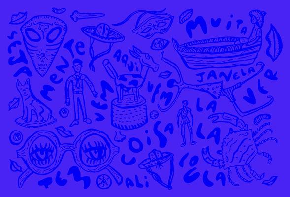 Textura de Imagem em duo tone azul RGM brilhante e escuro com ilustrações aparentemente de nanquim de brinquedos antigos