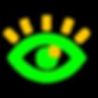 Imagem com verde RGB e amarelo queimado de um olho estilo flat design