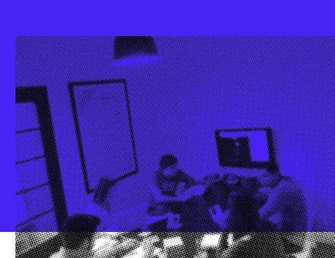 Imagem reticulada preta em fundo azul mezan