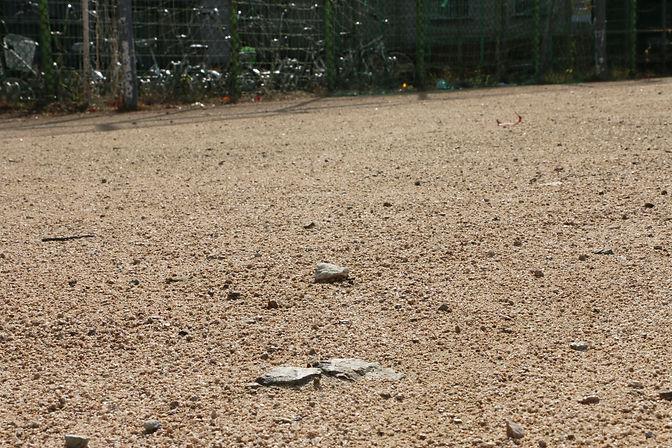 사진8 지난11일, 우리대학 운동장 바닥을 촬영한 모습. 돌들의 크기가