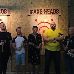 Axe throwers enjoying group discount at axeheads