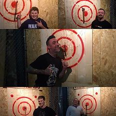 Individuals enjoying Axe Throwing in Cornwall