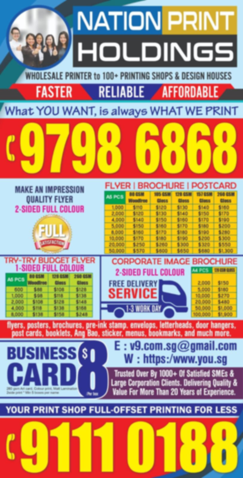 Flyer Printing Cheap Express Fast Singapore