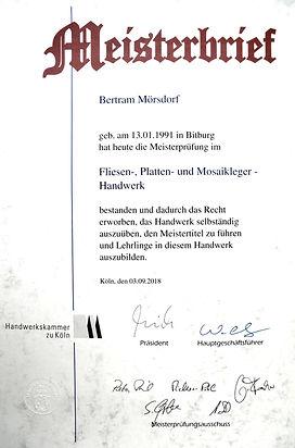 Meisterbrief | Fliesen Mörsdorf | Fliesenleger | Bettingen | Bitburg | Eifel