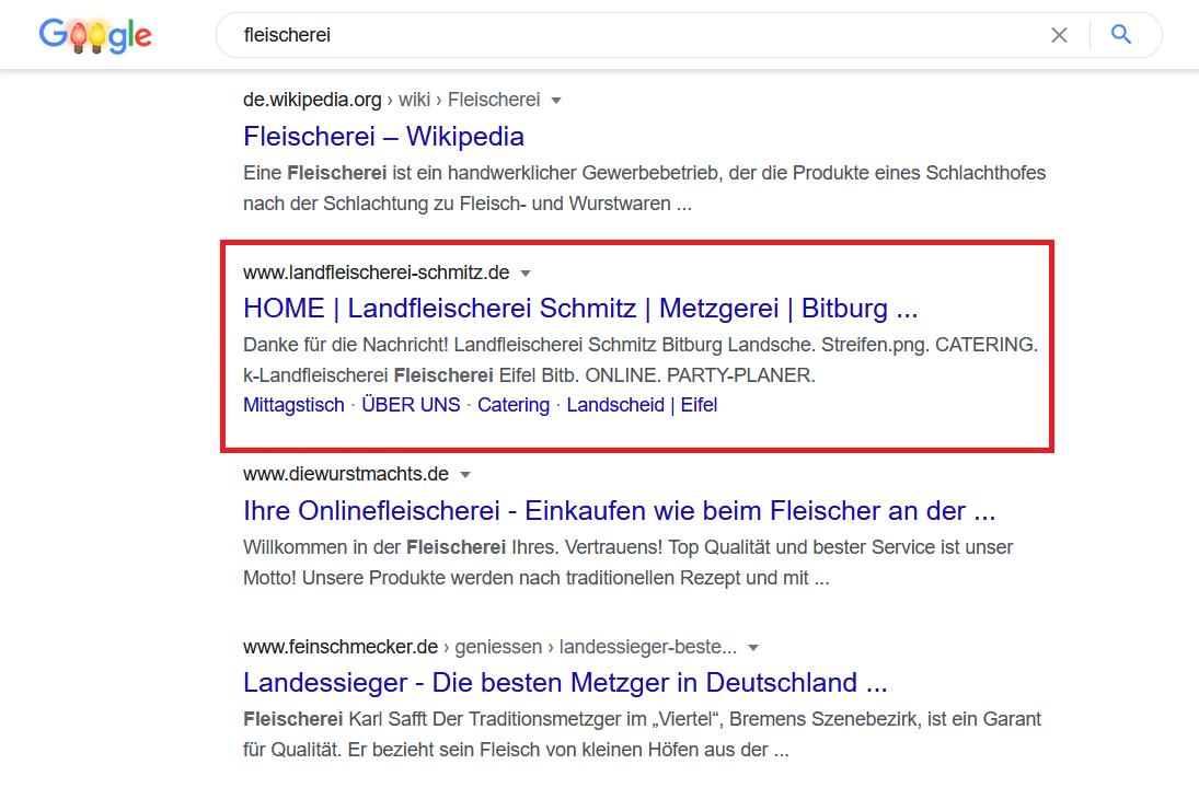 Publicité sur les moteurs de recherche Landfleischerei Schmitz