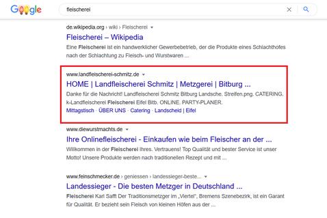 Suchmaschinenwerbung Landfleischerei Schmitz