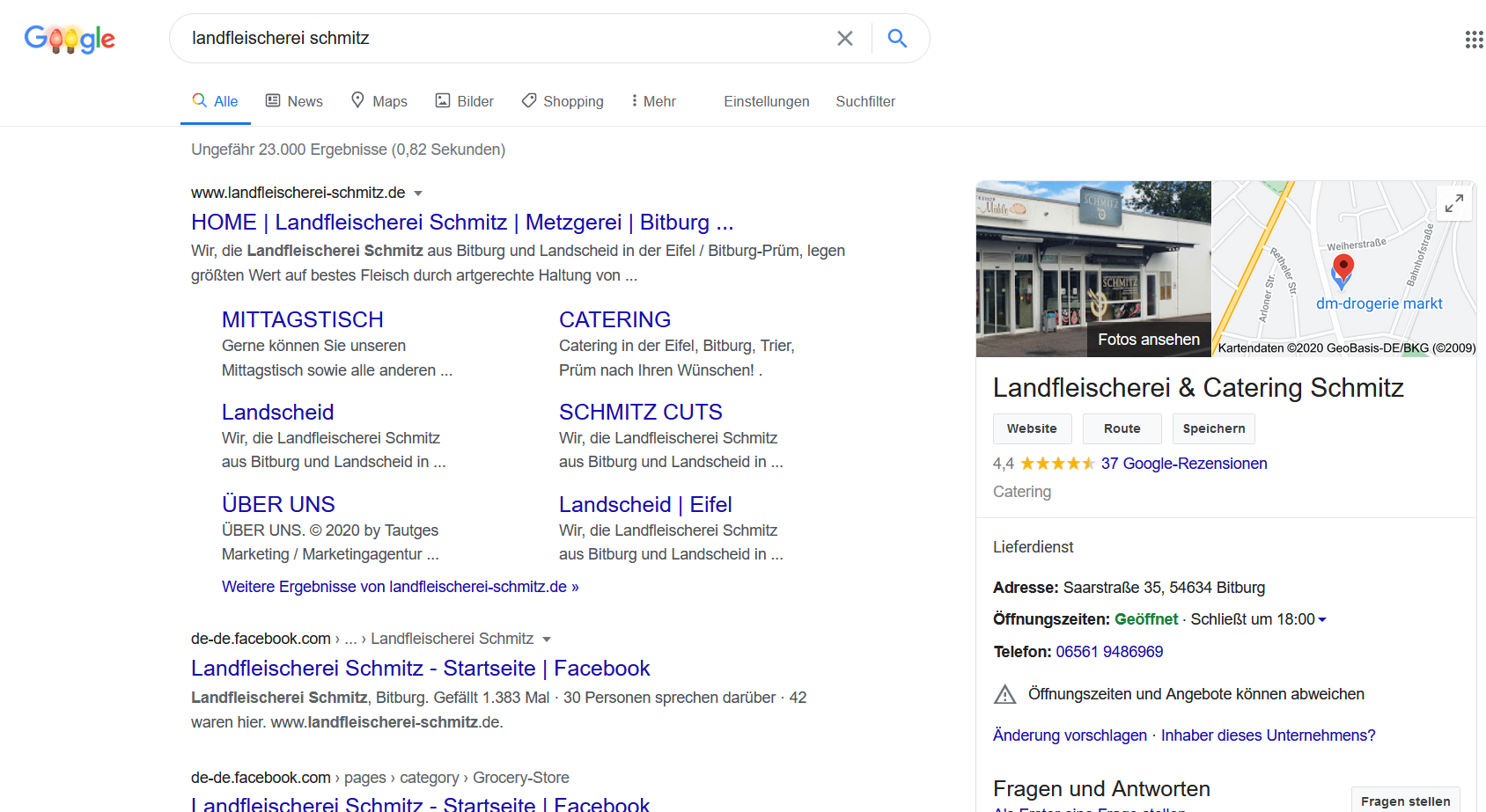 Publicité sur les moteurs de recherche Landfleischeri Schmitz