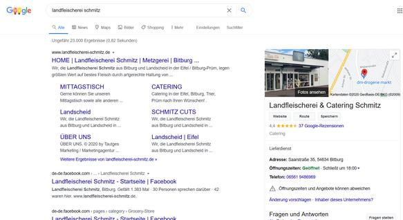 Suchmaschinenwerbung Landfleischeri Schmitz
