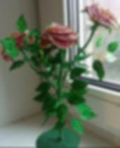 Розовый куст Красные розы из бисера и паеток купить в СПб
