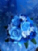 Букет цветов из полимерной глины в голубых тонах купить в СПб