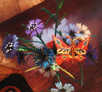 ЦветыВасильки из биссера Букет фото