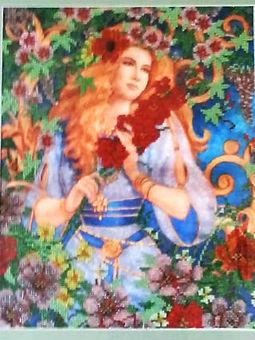 Картина Девушка - Весна Вышивка биссером Фото