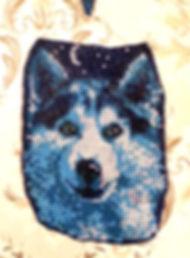 Волк Мозаика - подвес из бисера на твёрдой основе