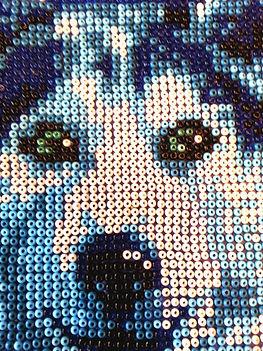 Волк Мозаика из бисера