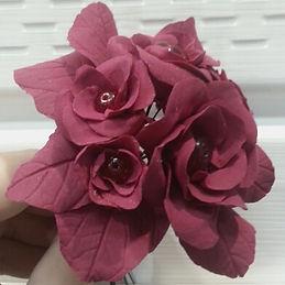 Рубиновый букетик из полимерой глины и бисера купить в СПб подарок сувенр украшение интерьера
