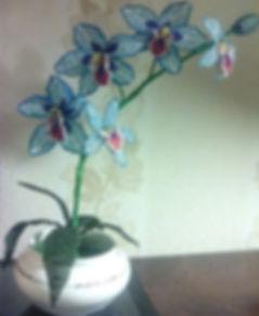 Синяя голубая орхидея из бисера ветка орхидеи в вазе купить красивые цветы из бисера