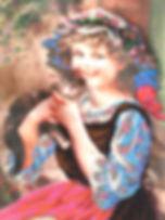 Картина Девочка с котенком Вышивка биссером Фото