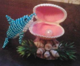 Игрушка из бисера Дельфин Фото композиция с ракушкой