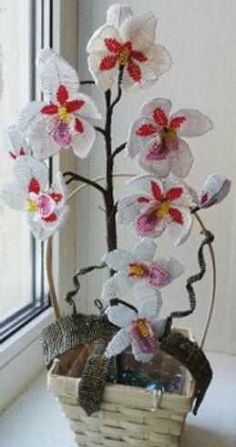 Белая орхидея из бисера ветка орхидеи в корзине купить красивые цветы из бисера
