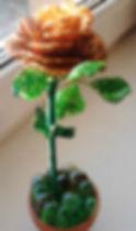 Золотая роза из бисера Фото
