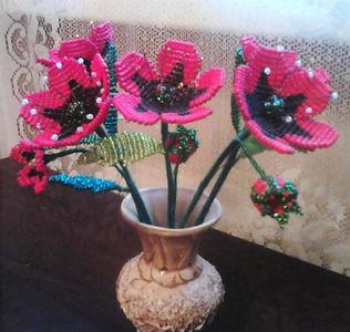 ЦветыМаки из бисера фото