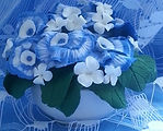 Скрытый тайник в чаше с цветами из полимерной глины, вещи тайники, сувенир, декор, сине-голубые цветы из полимерной глины