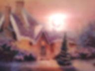 Картина Зима в деревне Вышивка биссером Фото