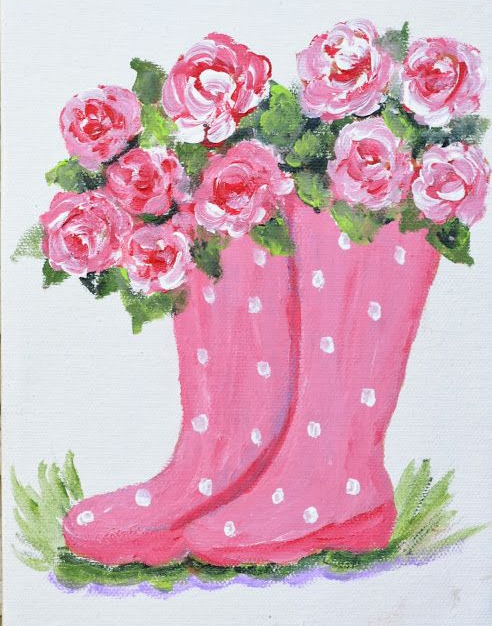 Rainboots and Flowers