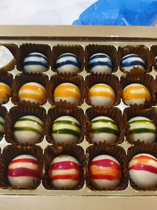 Chocolates made in a workshop.