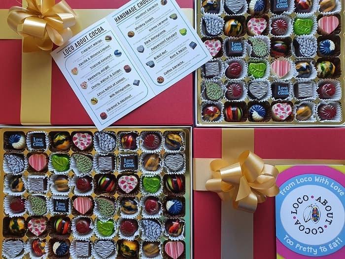 Box of 48 handmade chocolates.