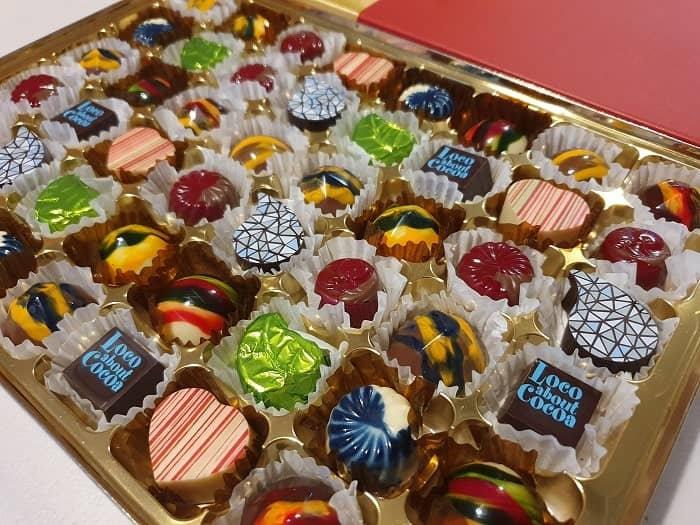 Table sharer of 48 handmade chocolates