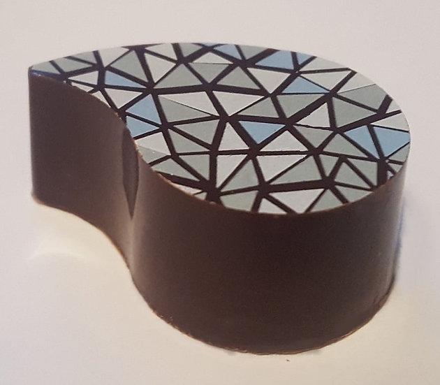 dark chocolate brazil nut in brandy ganache.