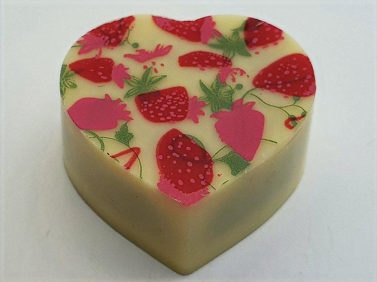 white chocolate raspberry puree. Bespoke chocolates.